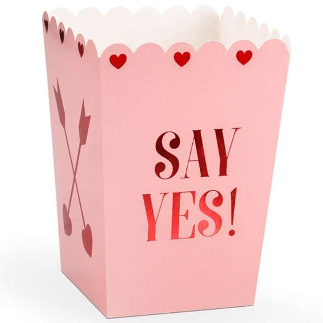"Pudełka na popcorn ""Love is in the Air"", różowe, PartyDeco, 6 szt"