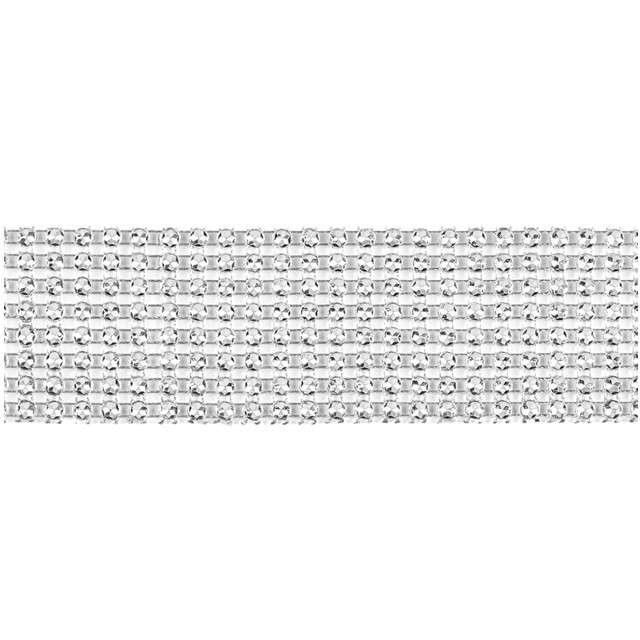 Taśma dekoracyjna Cyrkonie Srebrne PartyDeco 4cm/9m