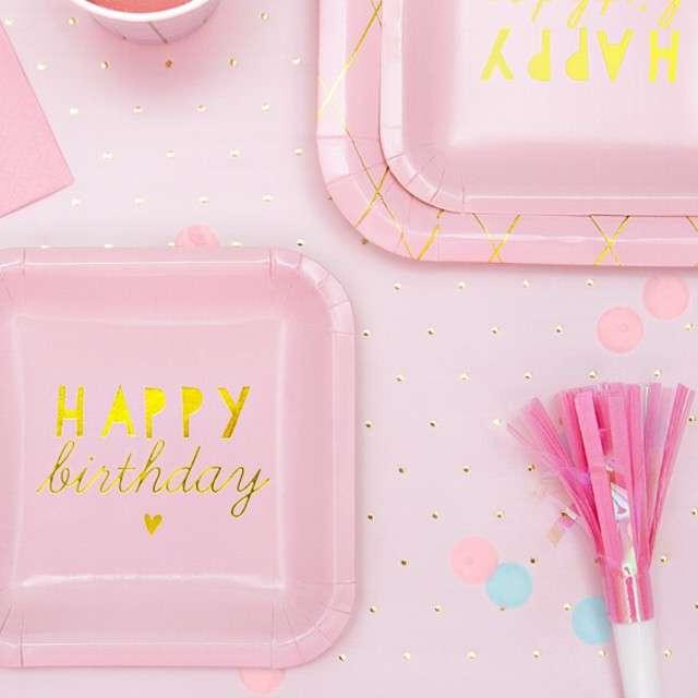 Trąbki papierowe horn Frędzle różowe PartyDeco 6 szt