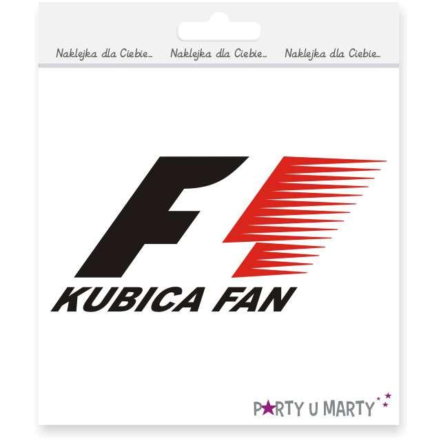 """Naklejka samochodowa """"Kubica Fan"""", 14x6 cm, czarno-czerwona"""