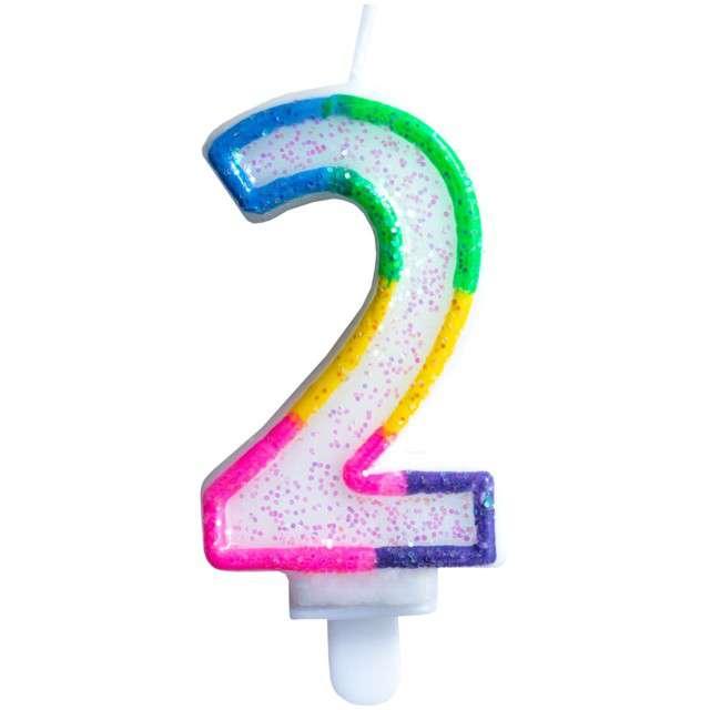 """Świeczka na tort """"Cyfra 2"""", tęczowa brokatowa, KRASZEK, 7 cm"""