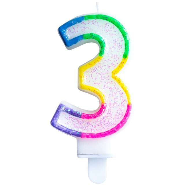 """Świeczka na tort """"Cyfra 3"""", tęczowa brokatowa, KRASZEK, 7 cm"""