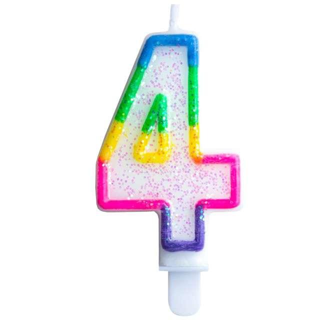 """Świeczka na tort """"Cyfra 4"""", tęczowa brokatowa, KRASZEK, 7 cm"""