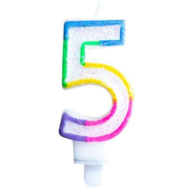 """Świeczka na tort """"Cyfra 5"""", tęczowa brokatowa, KRASZEK, 7 cm"""