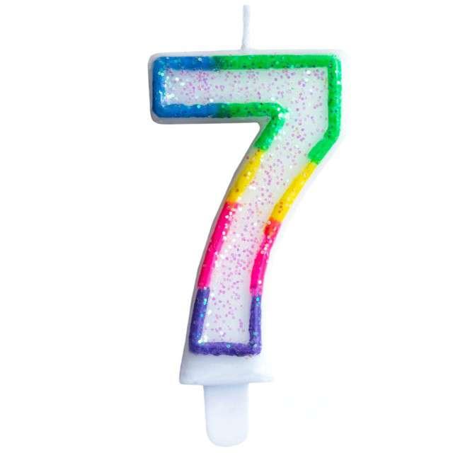 """Świeczka na tort """"Cyfra 7"""", tęczowa brokatowa, KRASZEK, 7 cm"""