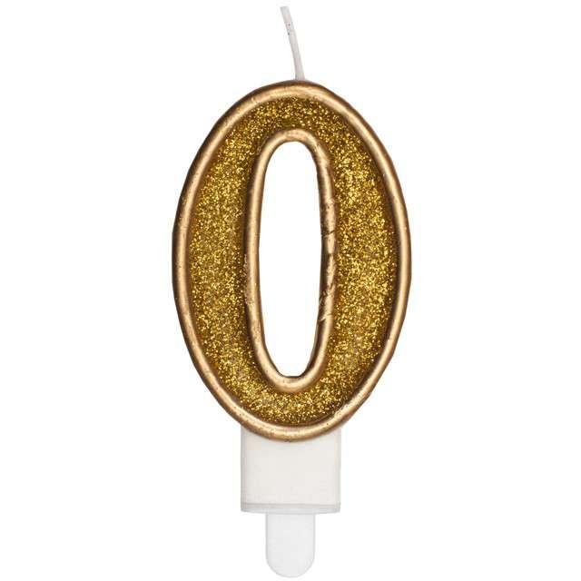"""Świeczka na tort """"Cyfra 0"""", złota brokatowa, KRASZEK, 7 cm"""