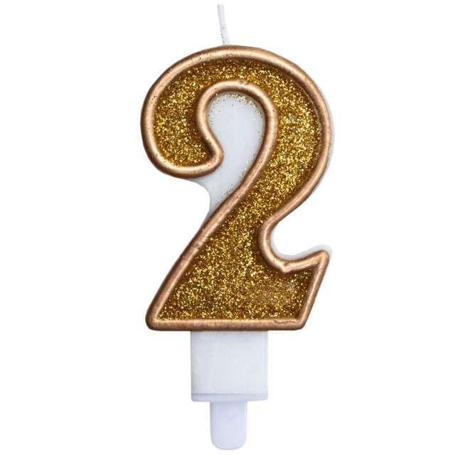 """Świeczka na tort """"Cyfra 2"""", złota brokatowa, KRASZEK, 7 cm"""