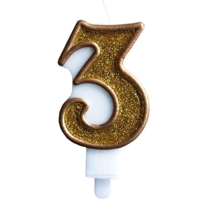 """Świeczka na tort """"Cyfra 3"""", złota brokatowa, KRASZEK, 7 cm"""