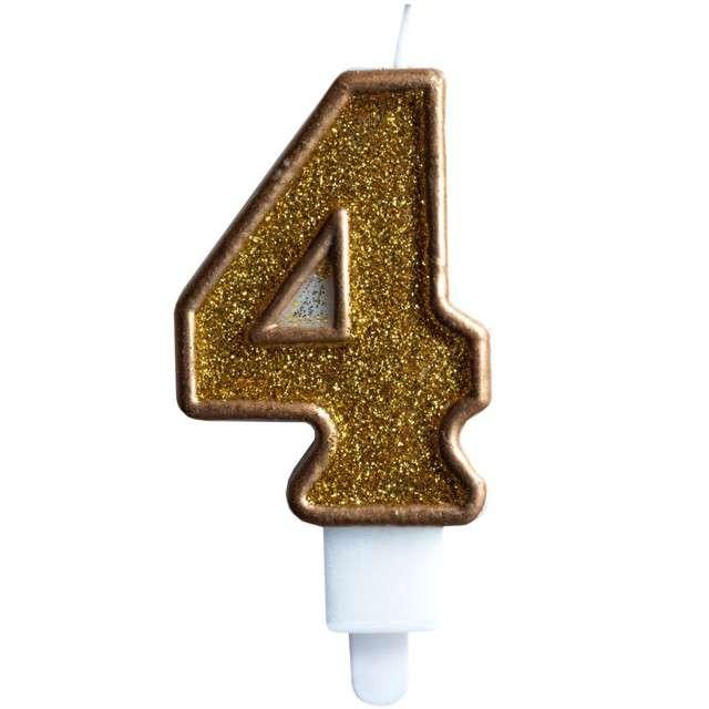 """Świeczka na tort """"Cyfra 4"""", złota brokatowa, KRASZEK, 7 cm"""