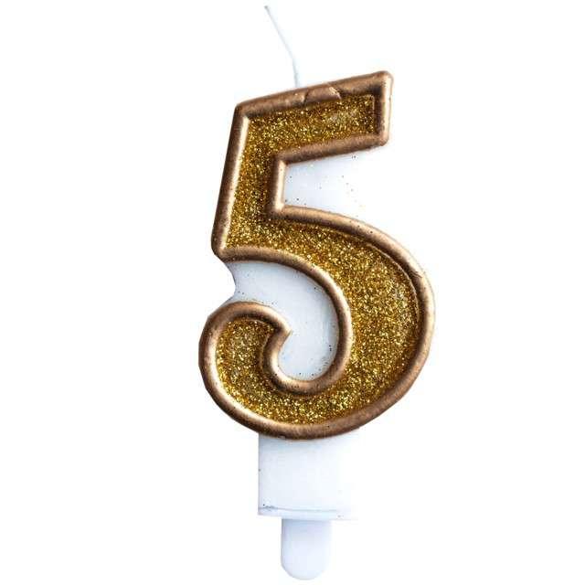 """Świeczka na tort """"Cyfra 5"""", złota brokatowa, KRASZEK, 7 cm"""