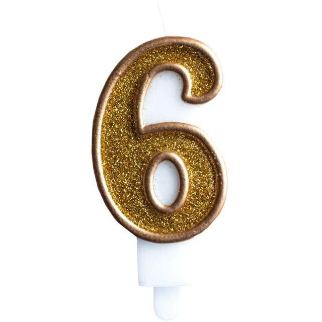 """Świeczka na tort """"Cyfra 6"""", złota brokatowa, KRASZEK, 7 cm"""
