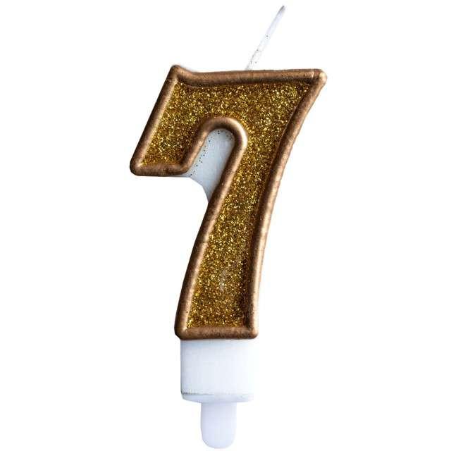 """Świeczka na tort """"Cyfra 7"""", złota brokatowa, KRASZEK, 7 cm"""
