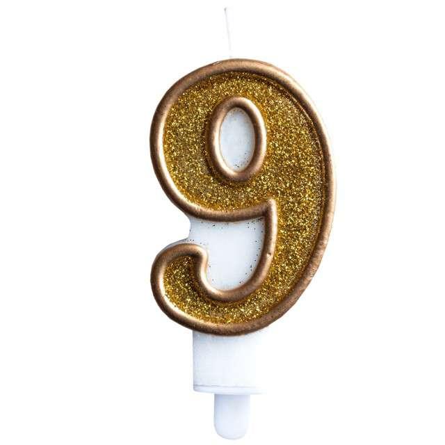 """Świeczka na tort """"Cyfra 9"""", złota brokatowa, KRASZEK, 7 cm"""