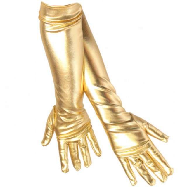"""Rękawiczki """"Elegant Metaliczne"""", złote, GUIRCA, 44 cm"""