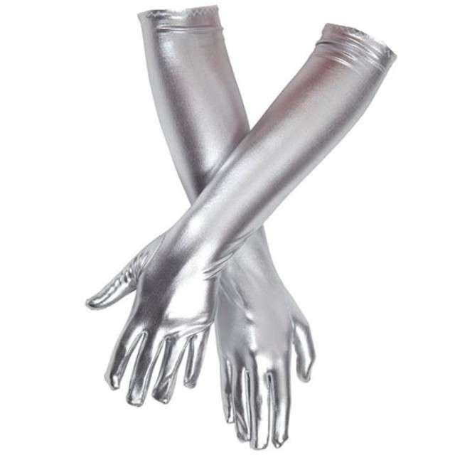 """Rękawiczki """"Elegant Metaliczne"""", srebrny, GUIRCA, 44 cm"""