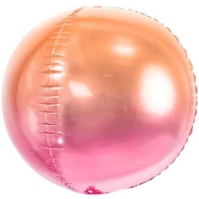"""Balon foliowy """"Kula Ombre Metalic"""", różowo-pomarańczowy, PartyDeco, 14"""" ORB"""