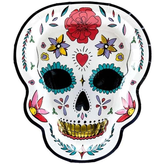 """Talerzyki papierowe """"Dia de los Muertos - Dzień Śmierci"""", PartyDeco, 23 cm, 6 szt"""