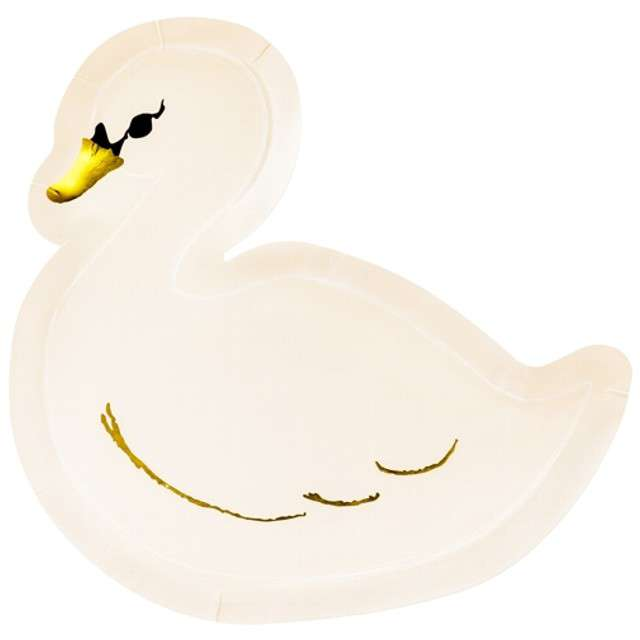 """Talerzyki papierowe """"Łabędź - Lovely Swan"""", PartyDeco, 23,5 cm, 6 szt"""