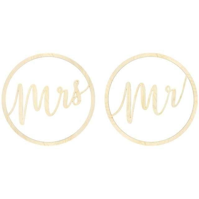"""Dekoracja """"Mr i Mrs"""", PartyDeco, 38 cm, 2 szt"""