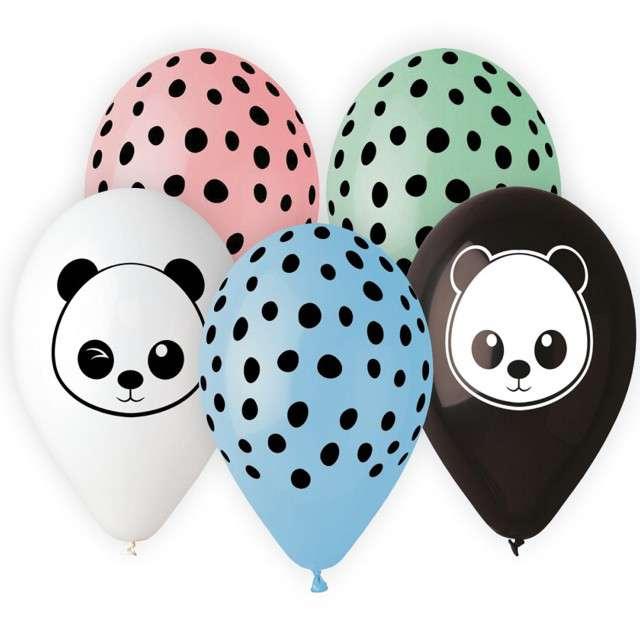 """Balony """"Panda"""", mix, Gemar, 13"""", 5 szt"""