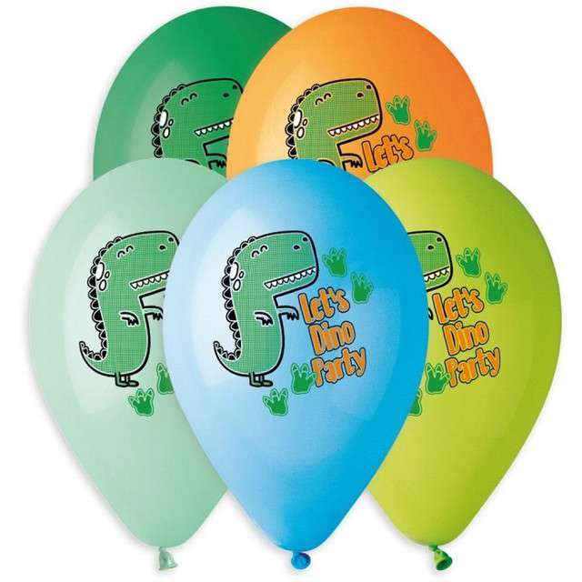 "Balony ""Lets Dino Party"", mix, Gemar, 13"", 5 szt"