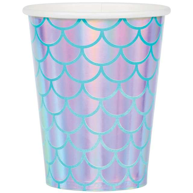 """Kubeczki papierowe """"Mermaid Shine"""", CreativeConverting, 266 ml, 8 szt"""