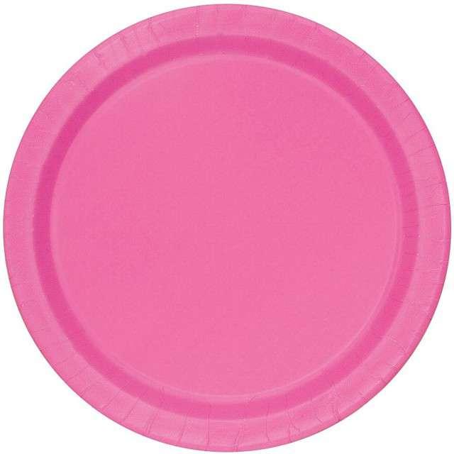 """Talerzyki papierowe """"Classic"""", różowy , UNIQUE, 18 cm, 20 szt"""