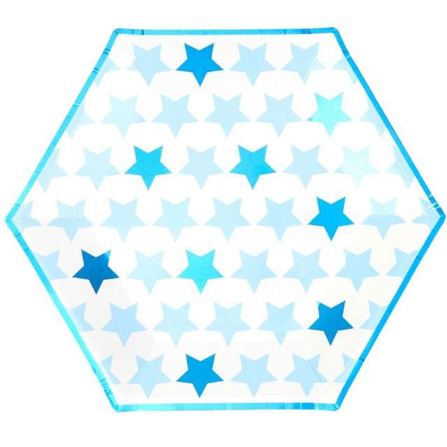 "Talerzyki papierowe ""Little Star - Blue"", NEVITI, 27 cm, 8 szt"
