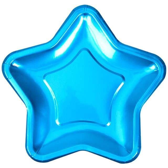 """Talerzyki papierowe """"Little Star - Blue Metaliczny"""", NEVITI, 18 cm, 8 szt"""