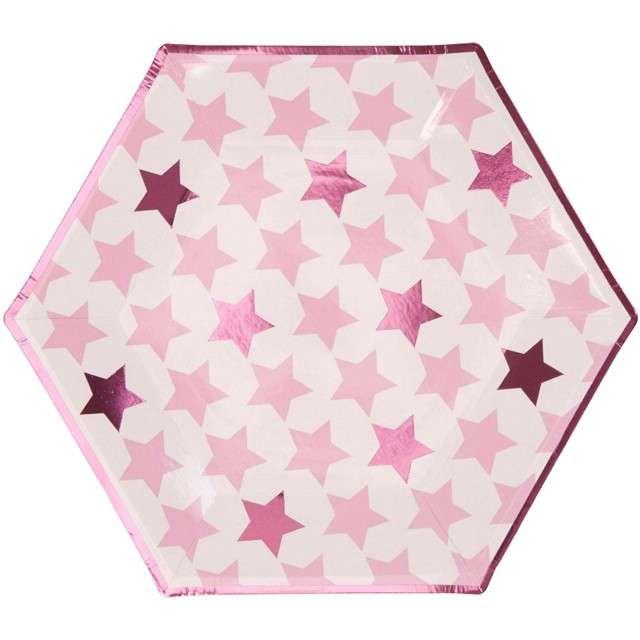 "Talerzyki papierowe ""Little Star - Pink"", NEVITI, 27 cm, 8 szt"