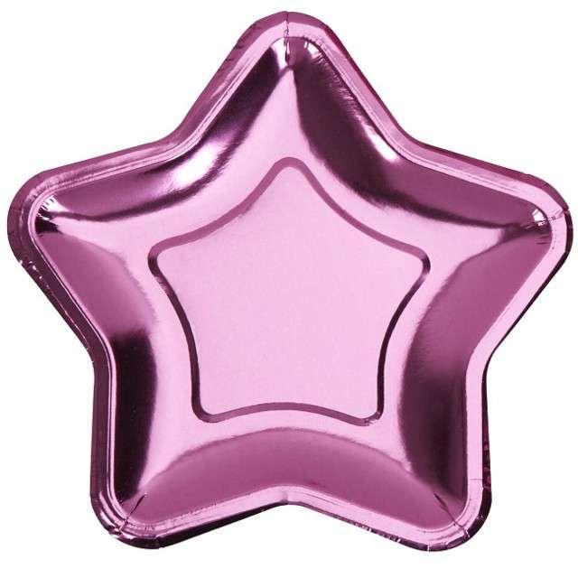 """Talerzyki papierowe """"Little Star - Pink Metaliczny"""", NEVITI, 18 cm, 8 szt"""