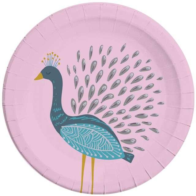 """Talerzyki papierowe """"Paw - Peacock"""", PROCOS, 23 cm, 8 szt"""