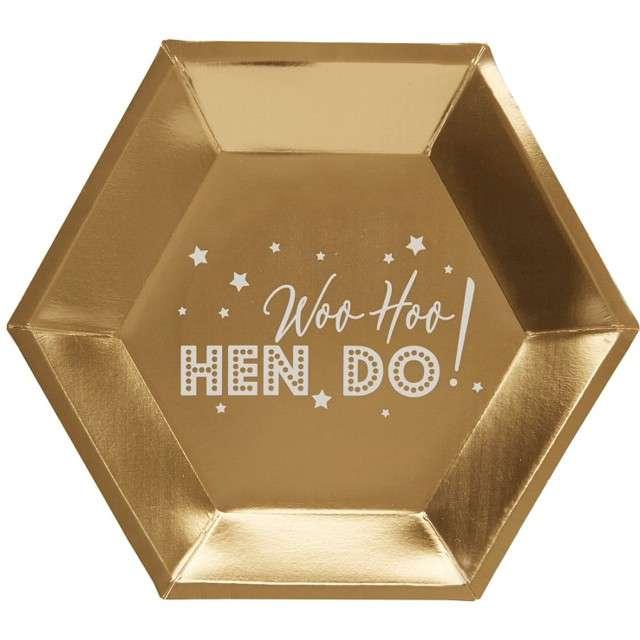 """Talerzyki papierowe """"Woo Hoo Hen Do - Panieński"""", NEVITI, 27 cm, 8 szt"""
