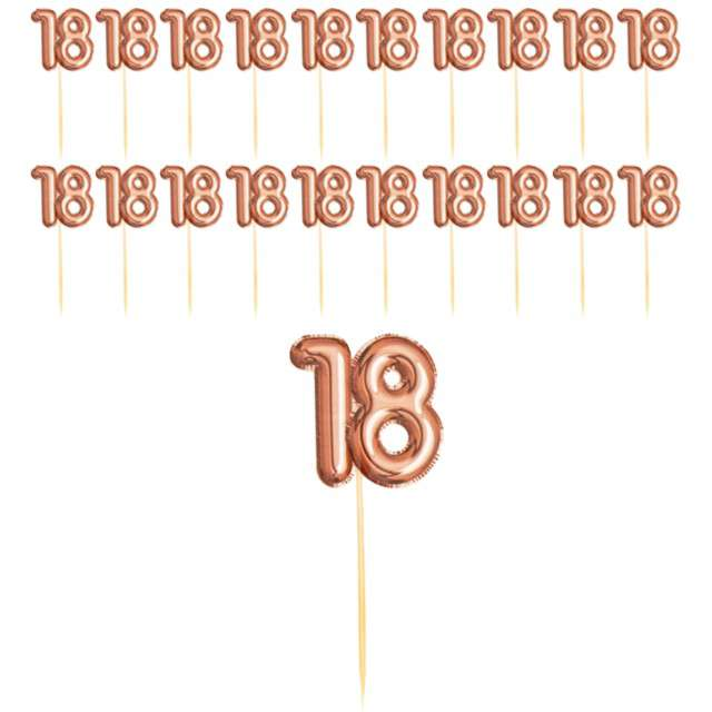 """Szpilki drewniane """"18 Urodziny - Glitz & Glamour"""", różowo-złote, NEVITI, 20 szt"""