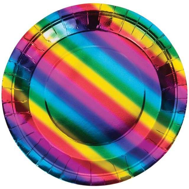 """Talerzyki papierowe """"Tęcza - Rainbow"""", CreativeConverting, 18 cm, 8 szt"""