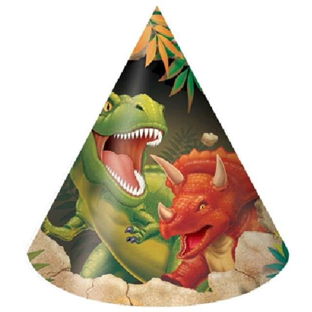 "Czapeczki papierowe ""Dinozaury - Dino"", Creative Converting, 8 szt"
