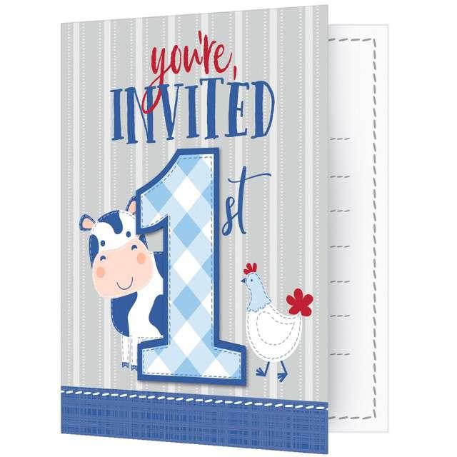 """Zaproszenia urodzinowe """"Farmhouse - Pierwsze Urodziny"""", Creative Converting, 8 szt"""