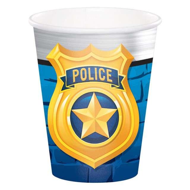 "Kubeczki papierowe ""Police Party"", CreativeConverting, 270 ml, 8 szt"