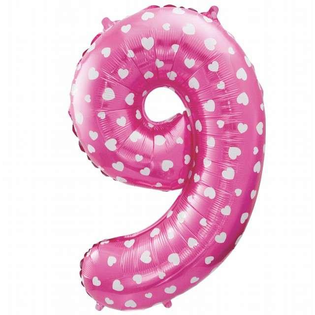 """Balon foliowy cyfra 9, 26"""", GODAN, różowy serca"""