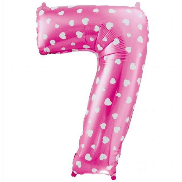 """Balon foliowy cyfra 7, 26"""", GODAN, różowy serca"""