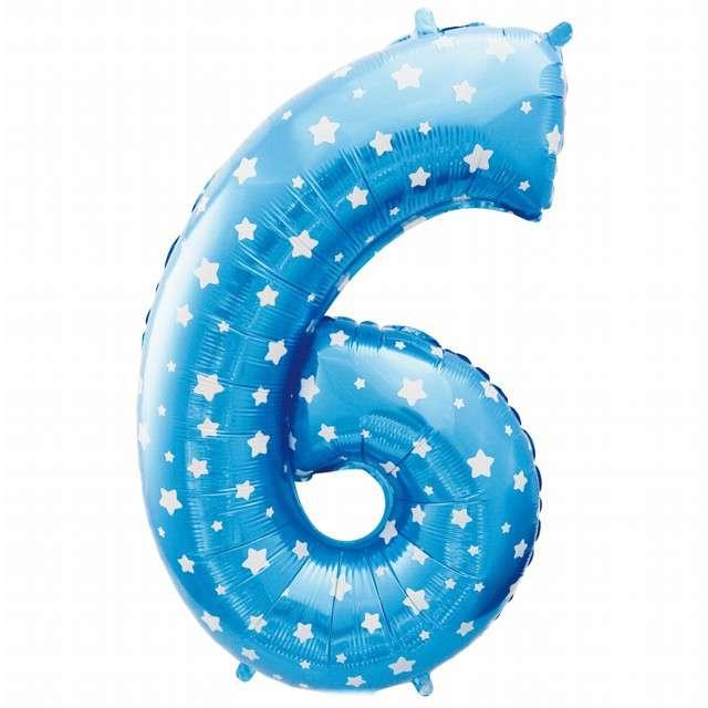 """Balon foliowy cyfra 6, 26"""", GODAN, niebieskie gwiazdki"""