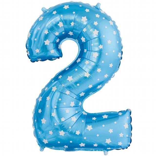 """Balon foliowy cyfra 2, 26"""", GODAN, niebieskie gwiazdki"""