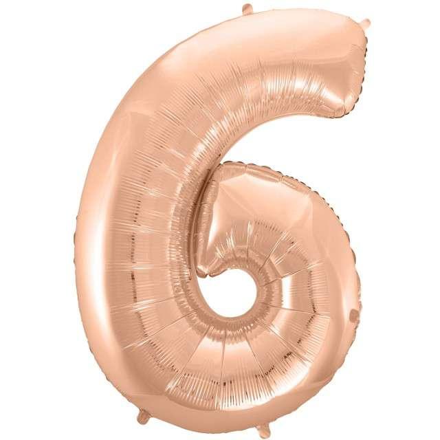 """Balon foliowy cyfra 6, 45"""", GODAN, różowo-złoty"""