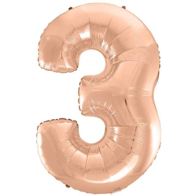 """Balon foliowy cyfra 3, 45"""", GODAN, różowo-złoty"""