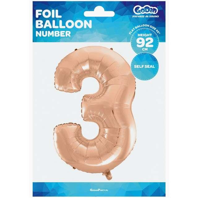 Balon foliowy cyfra 3 45 GODAN różowo-złoty