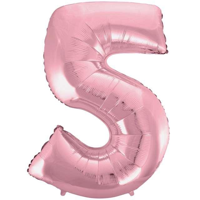 """Balon foliowy cyfra 5, 45"""", GODAN, różowy jasny"""