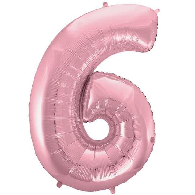 """Balon foliowy cyfra 6, 45"""", GODAN, różowy jasny"""