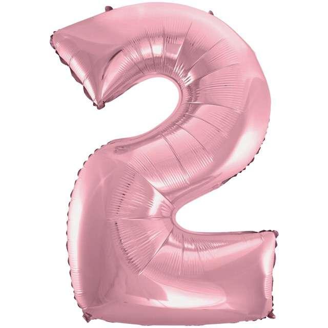 """Balon foliowy cyfra 2, 45"""", GODAN, różowy jasny"""