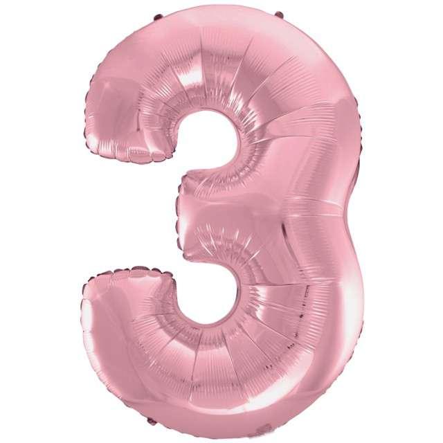 """Balon foliowy cyfra 3, 45"""", GODAN, różowy jasny"""