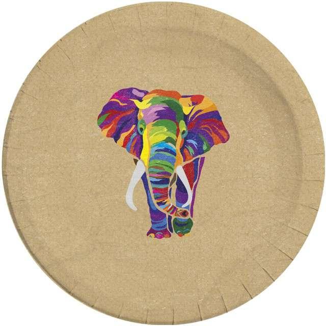 """Talerzyki papierowe """"Słoń - Elephant BIO"""", PROCOS, 23 cm, 8szt"""